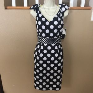 CHETTA B black polka dot hourglass sheath dress
